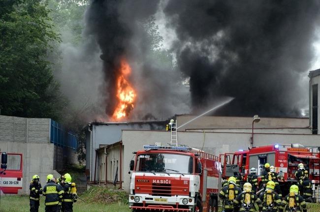 Hořela kotelna v areálu firmy Veba v Broumově - Olivětíně