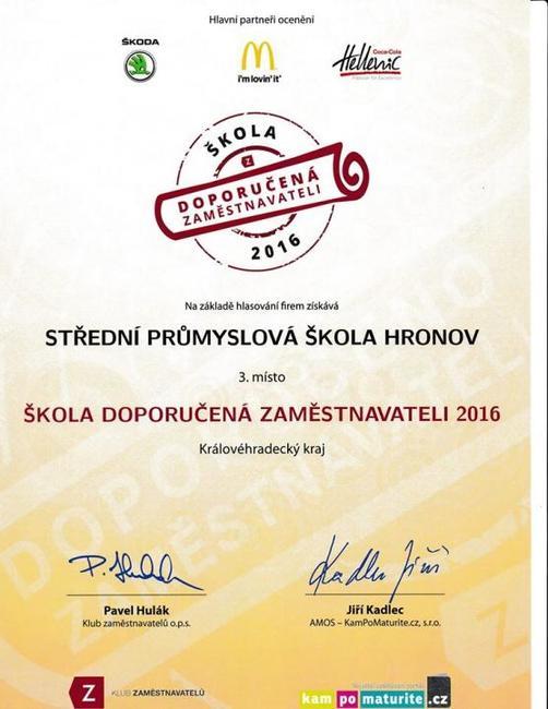 Hronovská průmyslovka již potřetí obdržela ocenění Škola doporučená zaměstnavateli 2016